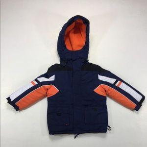 Boys Blue & Orange Hooded Puffy Jacket Winter Coat